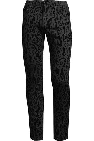 Dolce & Gabbana Men Skinny - Leopard-Print Flocked Skinny Jeans