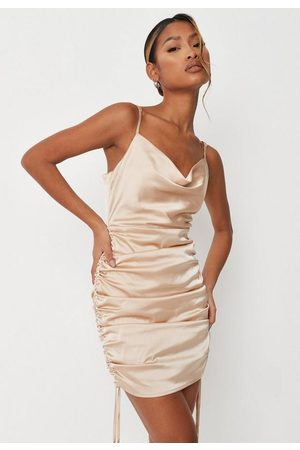 Missguided Petite Sand Cowl Neck Ruched Side Satin Mini Dress