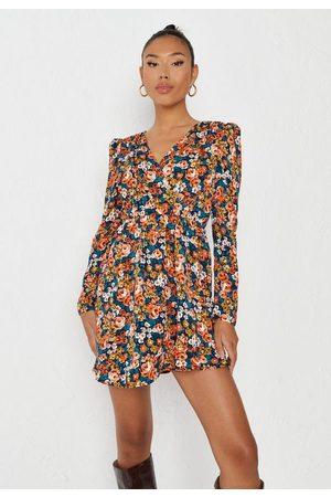 Missguided Women Party Dresses - Floral Frill Wrap Detail Mini Dress