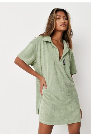 Missguided Women Casual Dresses - Petite Sage Towelling Oversized Polo T Shirt Dress
