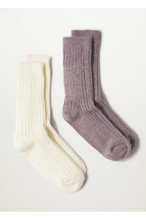 MANGO 2 pack ribbed socks /pastel purple