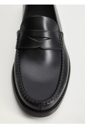 MANGO Leather penny loafers