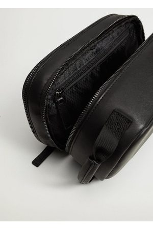 MANGO Leather-effect toiletry bag