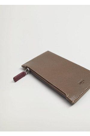 MANGO Men Wallets - Saffiano-effect cardholder /pastel brown