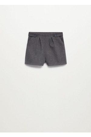 MANGO Striped high waist shorts