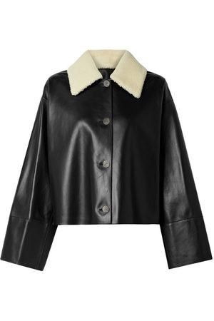 Loewe Women Leather Jackets - Oversized Shearling-Trimmed Leather Jacket