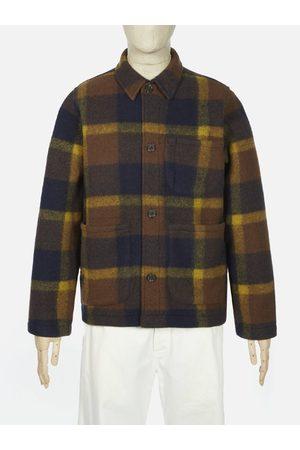 Universal Works Men Fleece Jackets - Plaid Fleece Field Jacket in Navy & Yellow