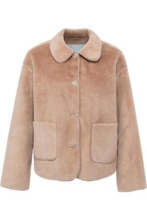 YAYA Women Jackets - Fake Fur Jacket in Affogato
