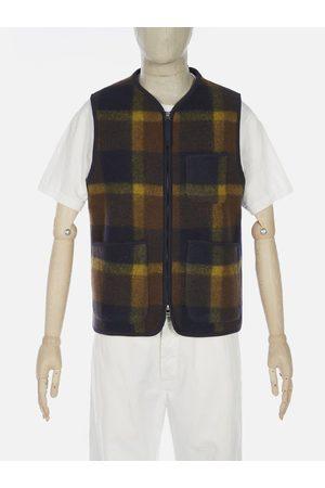 Universal Works Men Fleece Jackets - Plaid Fleece Zip Gilet in Navy & Yellow