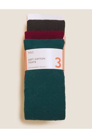 Girls Stockings - 3pk Cotton Star Tights (2-14 Yrs)