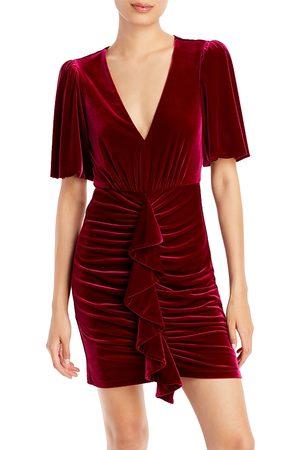 BCBG Max Azria V Neck Velvet Mini Dress