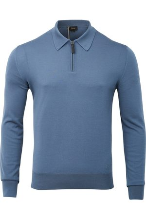 BRIONI Ultra Soft Long Sleeve Zip Polo (Bluette)