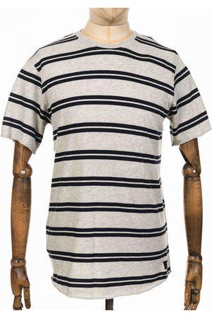 Edwin Men T-shirts - Jeans Terry Stripe Tee - Heather Grey/Navy Colour: Grey Marl/Navy
