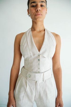 The Line By K Women Tank Tops - The Bettina Vest in Flax Linen