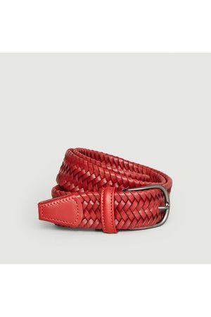 Anderson's Men Belts - Elasticated braided leather belt Brick
