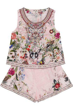 Camilla Embellished floral cotton playsuit