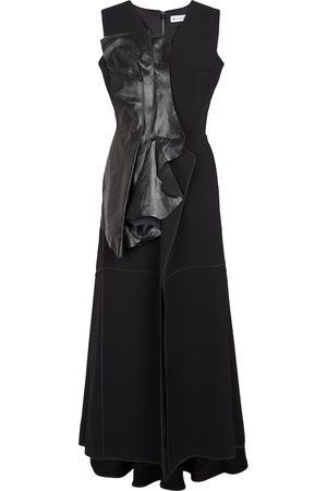 MATICEVSKI Bogarde leather-trimmed crêpe midi dress