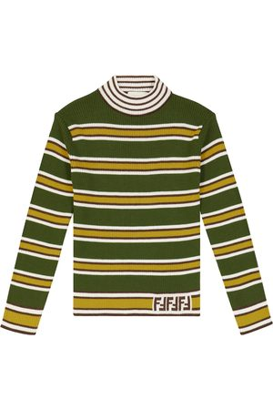 Fendi Turtlenecks - Striped wool turtleneck sweater