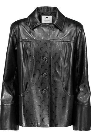 Marine Serre Women Leather Jackets - Moon-print leather jacket