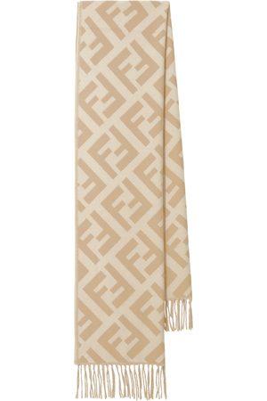 Fendi FF cashmere fringed scarf