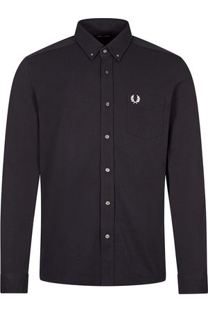 Fred Perry Long Sleeve Shirt Pique Texture - Navy