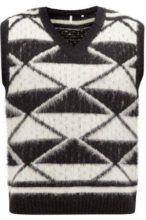 Sunflower Men Tank Tops - Scott Harlequin-jacquard Wool Sleeveless Sweater - Mens