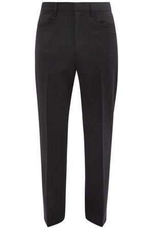 Sunflower French Slim-leg Twill Trousers - Mens - Dark Navy