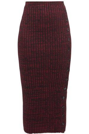 Self-Portrait Portrait - High-rise Ribbed-knit Pencil Skirt - Womens - Dark