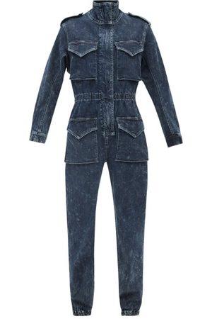 Norma Kamali High-neck Patch-pocket Denim Jumpsuit - Womens - Denim
