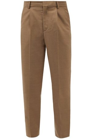 Another Aspect Pleated Tailored Trousers - Mens - Khaki