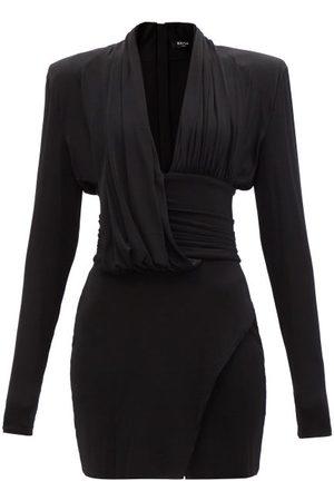 Balmain Padded-shoulder Jersey Mini Dress - Womens
