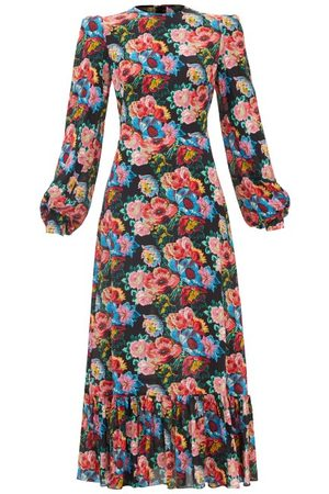 The Vampire's Wife Women Printed Dresses - The Villanelle Floral-print Crepe Dress - Womens
