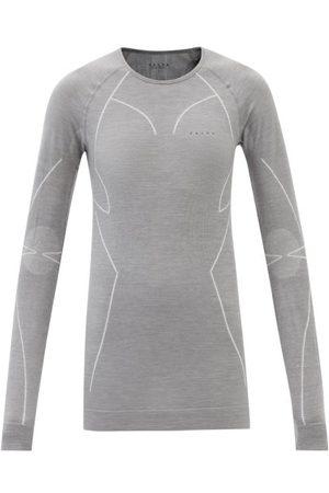 Falke Long-sleeved Wool-blend Jersey Top - Womens - Light Grey