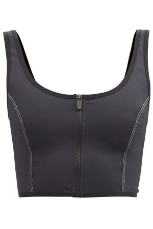 The Upside Women Crop Tops - Jet Indi Topstitched Zipped Cropped Top - Womens