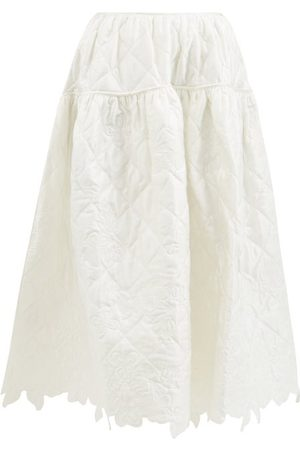 Cecilie Bahnsen Joy Amarylis Quilted Panel Midi Skirt - Womens - Ivory