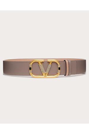 VALENTINO GARAVANI Women Belts - Reversible Vlogo Signature Belt In Glossy Calfskin 40 Mm Women Rose Cannelle/clay 100% Pelle Di Vitello - Bos Taurus 75