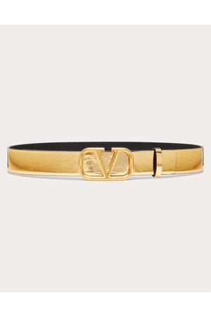 VALENTINO GARAVANI Women Belts - Vlogo Signature Belt In Mirror-effect Calfskin 30 Mm Women Antique Brass 100% Pelle Di Vitello - Bos Taurus 100