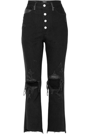 AMIRI Woman Leather-paneled Distressed High-rise Flared Jeans Size 27
