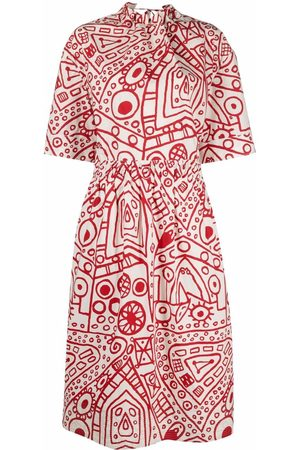 Colville Abstract-print gathered cotton dress