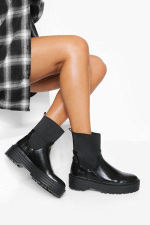 Boohoo Women Chelsea Boots - Womens Chunky Sock Chelsea Boot - - 5