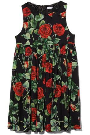 Dolce & Gabbana Rose print pleated sleeveless dress