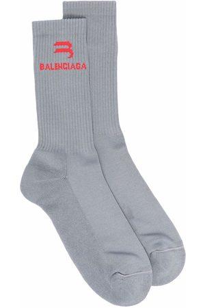 Balenciaga Intarsia-knit logo Abstract tennis socks - Grey