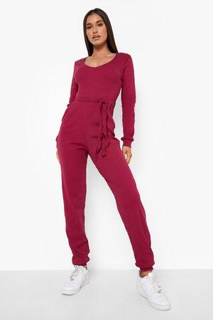 Boohoo Womens Rib V Neck Belted Jumpsuit - - 6