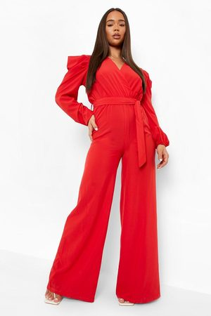 Boohoo Womens Puff Sleeve Wide Leg Belted Jumpsuit - - 4