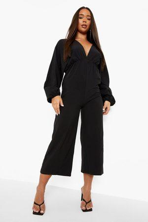 Boohoo Women Culottes - Womens Plunge Batwing Culotte Jumpsuit - - 4