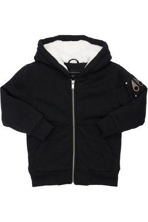 Moose Knuckles Girls Jackets - Hooded Zip-up Cotton Jacket W/ Faux Fur