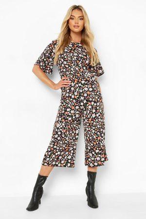 Boohoo Womens Floral Angel Sleeve Culotte Jumpsuit - - 6