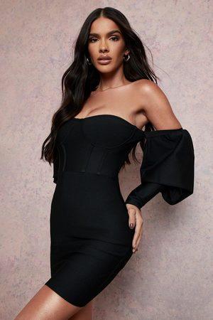 Boohoo Womens Bandage Bardot Long Sleeve Mini Dress - - 6