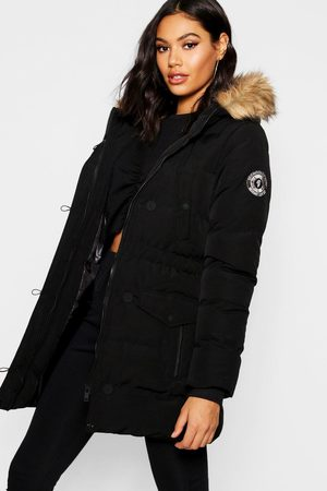 Boohoo Womens Faux Fur Trim Luxe Mountaineering Parka - - 4