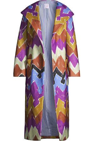 Stella Jean Chevron-Striped Hooded Coat